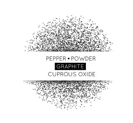 pepe nero: Cerchio nero fatto di punti neri. Illustrazione vettoriale. Pepper, grafite, polvere da sparo su bianco