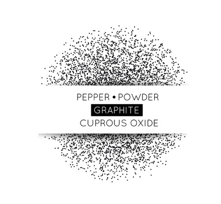 Black circle made of black dots. Vector illustration. Pepper, graphite, gunpowder on white