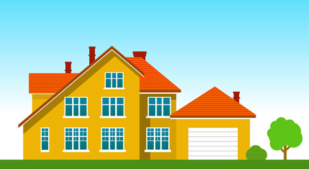 House with a garage on the grass with trees and bushes. Vector illustration