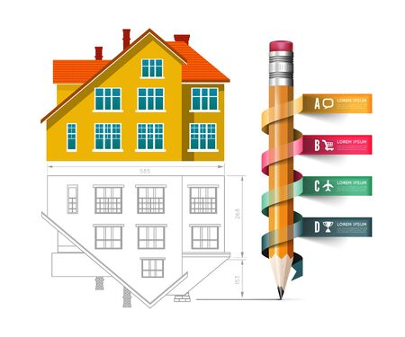 Home icon and drawing with a pencil. Vector infographics for real estate and construction