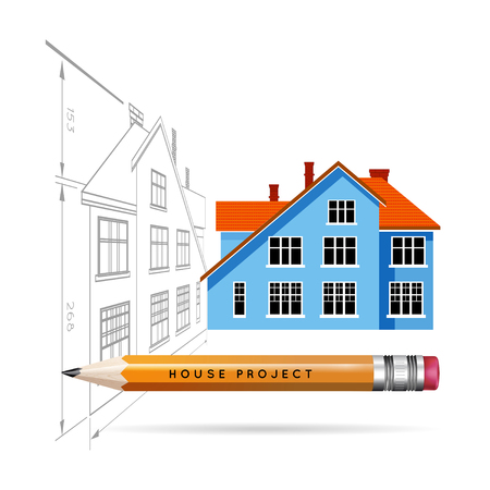 House icon and drawing with a pencil. Vector infographics for real estate and construction Illustration