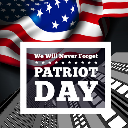 Patriot Day, September 11 waving USA flag . Vector illustration Vettoriali