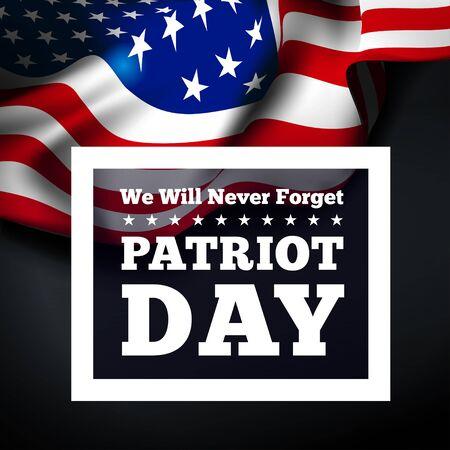 patriot: Patriot Day, September 11 waving USA flag . Vector illustration Illustration