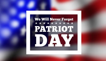 11th: Patriot Day, September 11 waving USA flag . Vector illustration Illustration