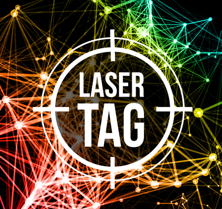 Laser tag with target.on a background of multi-colored laser beams. Vector illustration Vettoriali