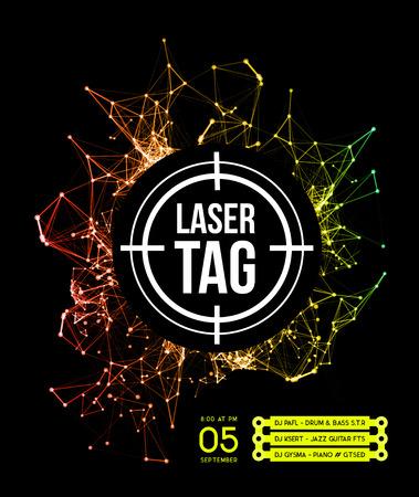 La etiqueta del laser con target.on un fondo de rayos láser de múltiples colores. ilustración vectorial
