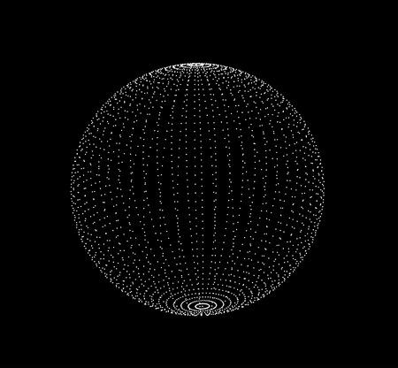 Forma a spirale astratta sfera 3D sotto forma di sfere luminose. Illustrazione vettoriale