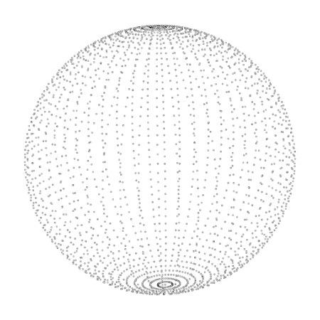 forma de esfera espiral extracto 3D en forma de bolas luminosas. ilustración