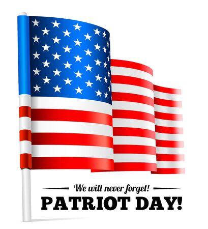 Patriot Day, September 11 waving USA flag . Vector illustration Illustration