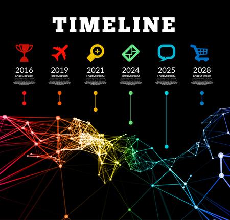 timelines: Timeline element vector infographic on black background Illustration