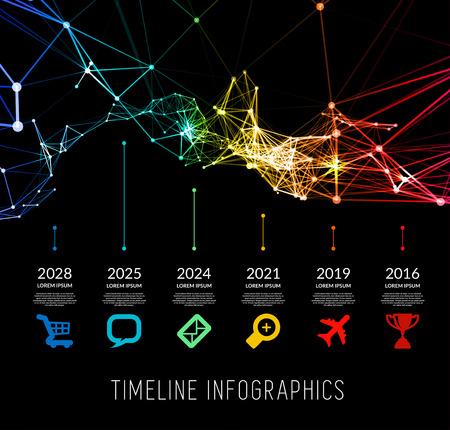 biography: Timeline element vector infographic on black background Illustration