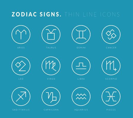 virgo the virgin: Zodiac signs. Thin line vector icons. Illustration on blue background