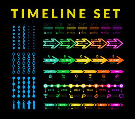 Línea de tiempo infografía elemento del vector en fondo negro