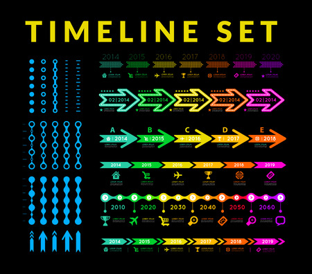 cronologia: Línea de tiempo infografía elemento del vector en fondo negro Vectores