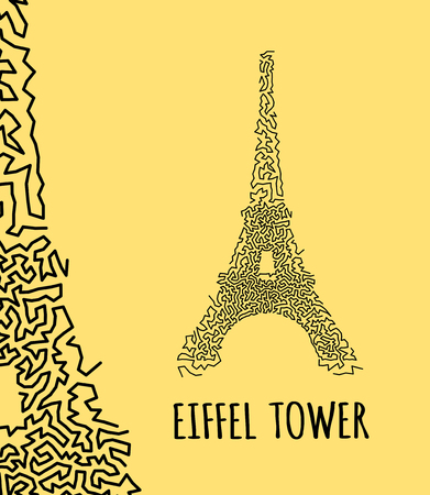 eifel: Eiffel Tower in hand-drawn doodle style on yellow background