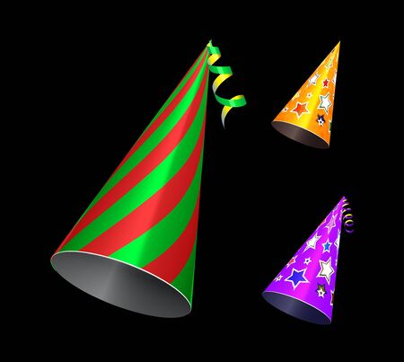 Party hat. Vector set illustration on blackc background