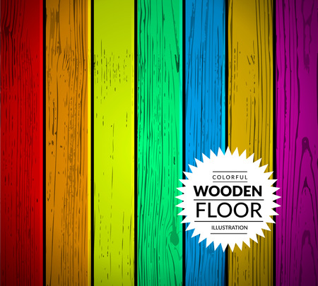 wood planks: Colorful vintage wooden floor. Vector background illustration Illustration