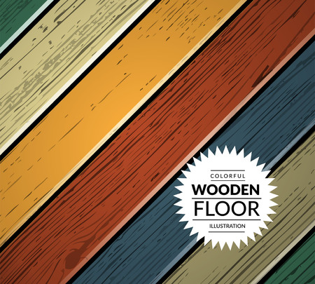 oak wood: Colorful vintage wooden floor. Vector background illustration Illustration