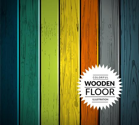 wooden texture: Colorful vintage wooden floor. Vector background illustration Illustration