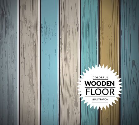 wood panel: Colorful vintage wooden floor. Vector background illustration Illustration