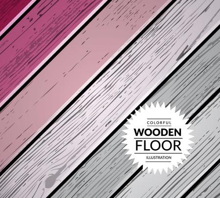 wooden floor: Colorful vintage wooden floor. Vector background illustration Illustration