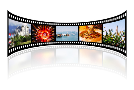 filmroll: Film strip with reflection on white. Vector illustration