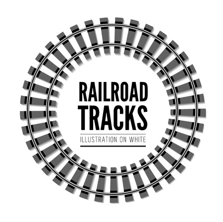 railway: Railroad tracks vector illustration isolated on white background