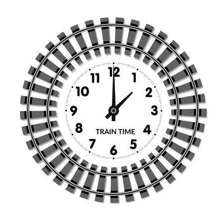 Vector Bahnuhren. Das Konzept der geplanten Zeit von Ankunft und Abfahrt der Züge Standard-Bild - 62410832