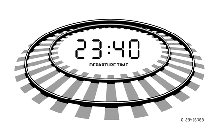 arrival: Vector railway clocks. The concept of the schedule time of arrival and departure of trains