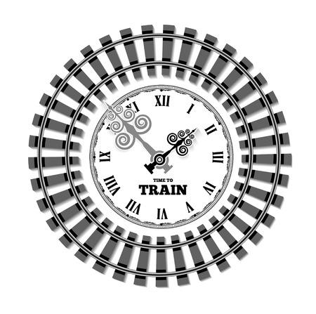 Vector Bahnuhren. Das Konzept der geplanten Zeit von Ankunft und Abfahrt der Züge