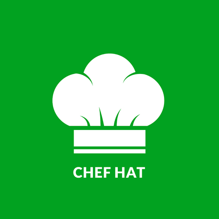 kitchener: Chef hat vector icon on green background