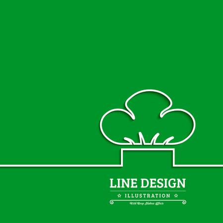 kitchener: Chef hat vector illustration on green background