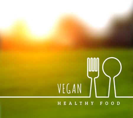 Concept van natuurlijke vegetarische gezondheid van voedsel. Vector illustratie met mes en vork Vector Illustratie