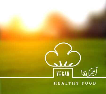 Concept of natural vegetarian health food. Vector illustration with chef hat and leaves