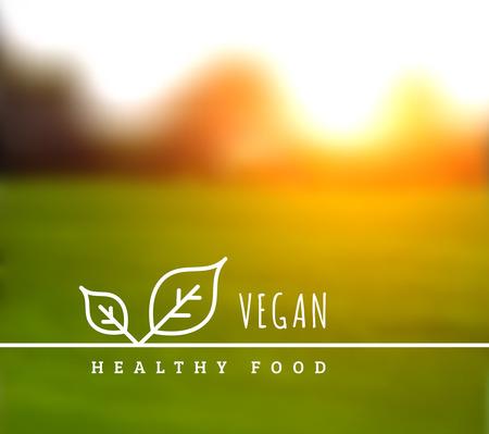 salud: Concepto de la comida sana vegetariana natural. Ilustración del vector con las hojas