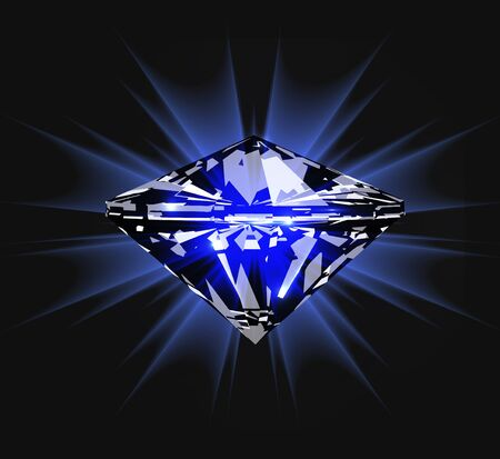 Diamond in front view. Vector illustration on dark blue background Illustration