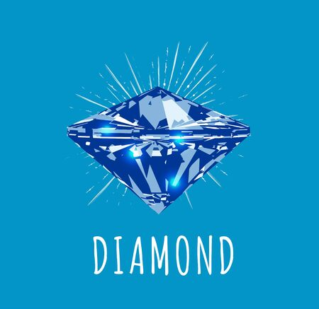Diamond in front view. Vector illustration on blue background