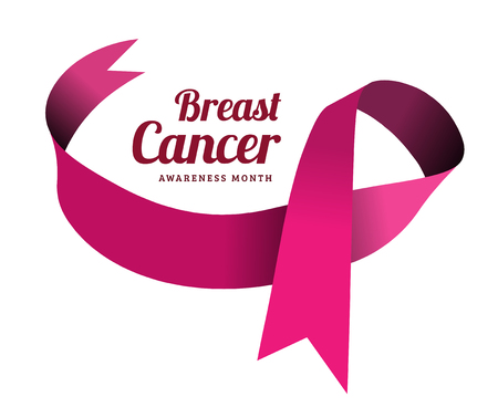 Breast cancer awareness symbol, isolated on white. illustration