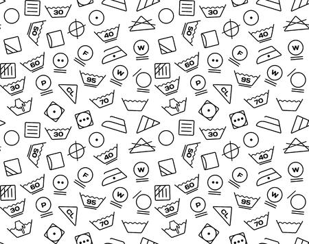 laundry care: Pattern created from laundry washing symbols on a white background. Seamless illustration