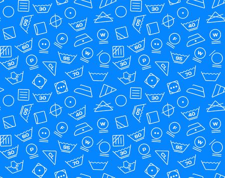 tumble drying: Pattern created from laundry washing symbols on a blue background. Seamless illustration Illustration