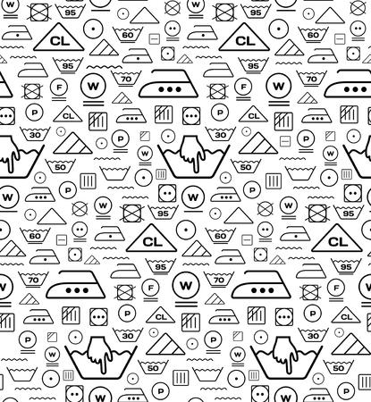 tumble drying: Pattern created from laundry washing symbols on a white background. Seamless illustration