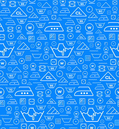 bleach: Pattern created from laundry washing symbols on a blue background. Seamless illustration Illustration