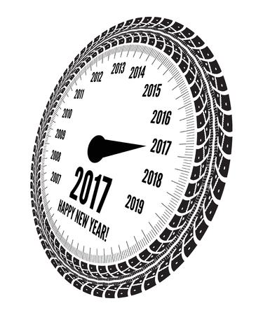 Speed meter 2017 year greeting. Styling by tire tracks. illustration