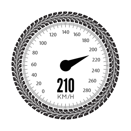 speedmeter: Speedmeter illustration. Styling by tire tracks. illustration