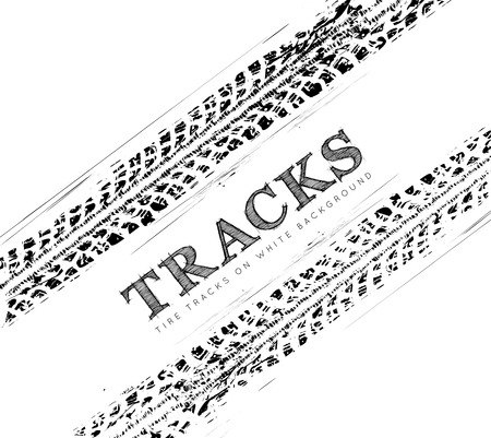 Tire tracks background in black and white style. illustration.