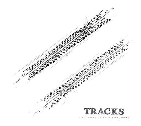 skidding: Tire tracks background in black and white style. Vector illustration.