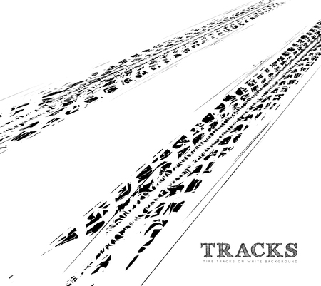 vehicle track: Tire tracks background in black and white style. Vector illustration.