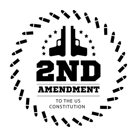 us constitution: Second Amendment to the US Constitution to permit possession of weapons. Vector illustration Illustration