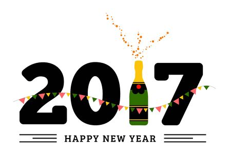 champaign: Congratulations to the happy new 2017 year with a bottle of champagne, flags. Vector flat illustration