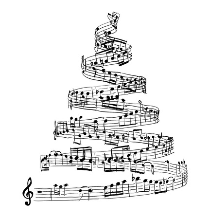 Christmas tree from music notes. Vector illustration Vettoriali